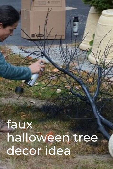 Make this spooky creepy dollar store halloween tree. Cheap halloween tree decorating ideas on a budget. paint a faux tree black and add these haunted inspired decor ideas. #hometalk