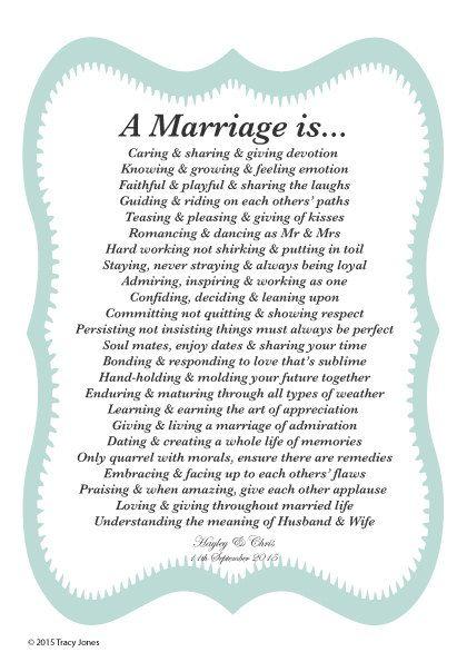 Personalised Marriage Poem A Is Vintage By WordsOfEssence