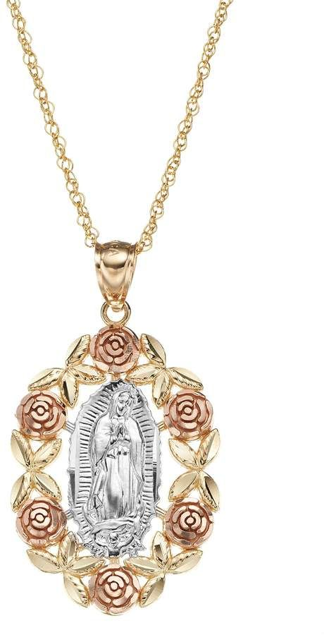 14k Gold Tri Tone Our Lady Of Guadalupe Pendant Necklace Quinceanera Jewelry Quinceanera Necklace Gold Jewelry Fashion