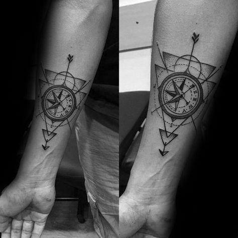 40 Geometric Compass Tattoo Designs For Men - Cool Geometry Ideas