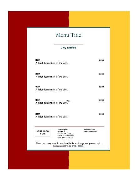 Menu Templates Free Download Here is download link to download - microsoft word menu templates