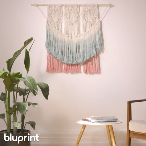 This dip-dye DIY macrame wall hanging is large and yet SO simple to make. If you're looking to venture into macrame, this project is a great one for beginners. We've got you covered with a step-by-step tutorial on how to make this boho beauty! #macrame #macramewallhanging #wallhanging #DIYmacrame #easymacrame #homedecor #bohohomedecor #macrameforbeginners #mybluprint