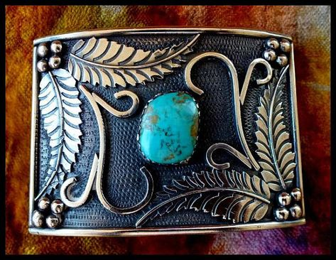 Turquoise and Sterling Silver Large Belt Buckle made in