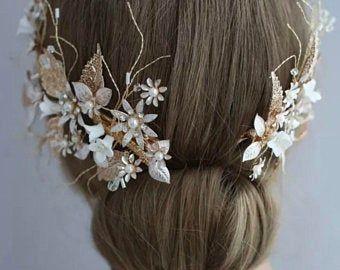 Wedding Hair Pins,Floral Vine Pearl Pin Bridal Head Piece Bridal Set Three Rhinestone Crystals Freshwater Pearls Bridal Flower Pins