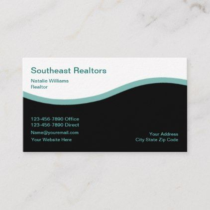 Modern Teal Real Estate Business Card Zazzle Com Real Estate Business Cards Real Estate Business Company Business Cards