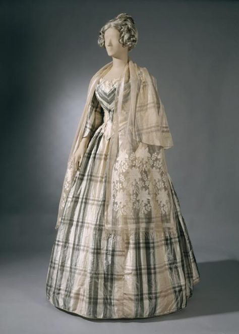 A lovely neutral hued striped gown from 1850.  #clothing #fashion #Victorian #dress #woman #costume #vintage #19th_century #1800s