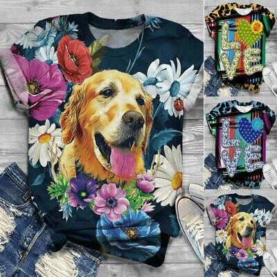 Womens Tshirts Plus Size Short Sleeve Cat Printed O-Neck Tops Tee T-Shirt Blouse