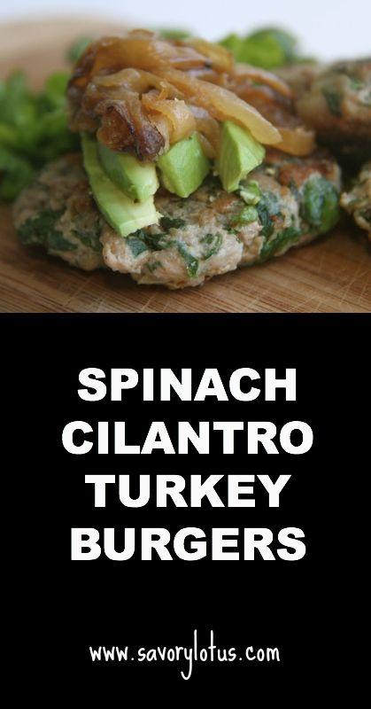 Spinach Cilantro Turkey Burgers   savorylotus.com