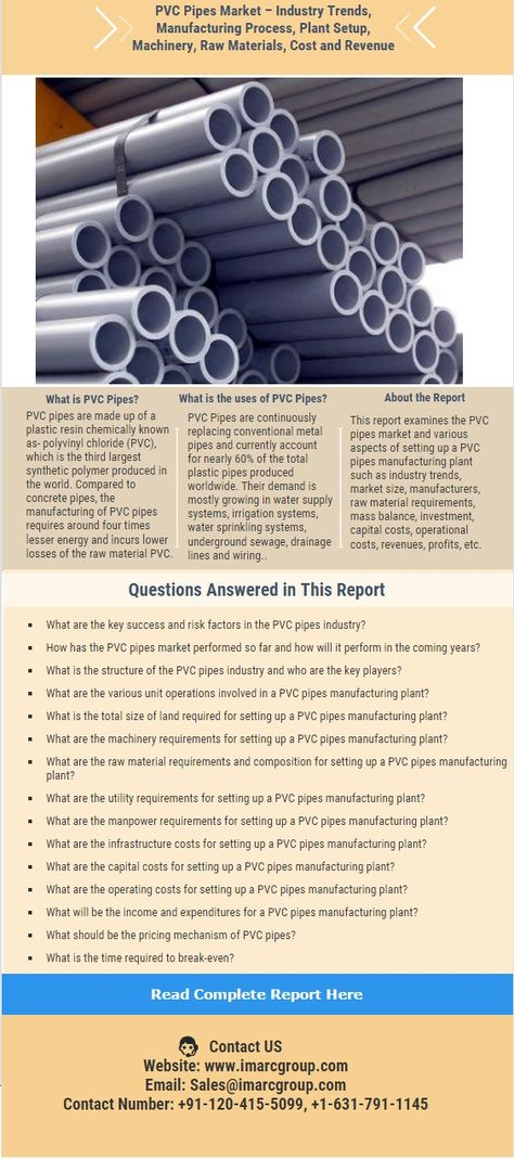 This report provide detailed analysis to establish a PVC pipes - manufacturing project report