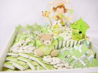 Baby Tray Decoration Decorated Chocolates Green Favour Tray  Baby Shower And Newborn