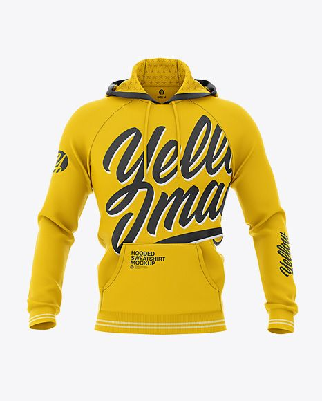 Download Men S Hooded Sweatshirt Mockup Front View Fleece Pullover Hoodie In Apparel Mockups On Yellow Images Object Mockups Clothing Mockup Hoodie Mockup Hooded Sweatshirts