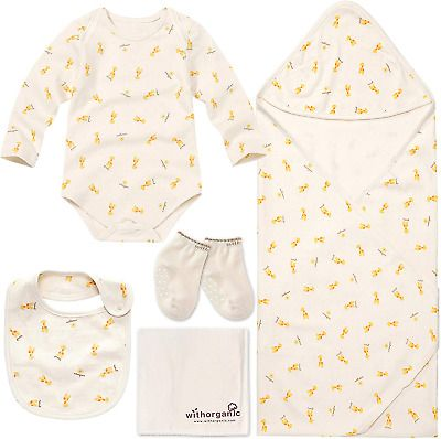 WithOrganic Newborn Gift Set for Baby Boy or Girl 100/% Organic Certified Cotton 7 Pieces