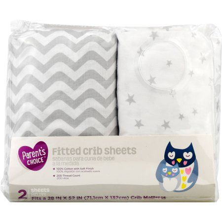 Parent S Choice 100 Cotton Fitted Crib Sheets Grey Chevron 2pk Walmart Com Fitted Crib Sheet Crib Sheets Crib Sheet Sets