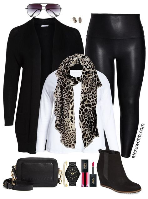 Excelente A plus size faux leather leggings outfit idea featuring a black cardigan leopard. A plus size faux leather leggings outfit. Legging Outfits, Black Leggings Outfit, Tribal Leggings, Printed Leggings, Outfits With Leather Leggings, Leggings Store, Short Plus Size, Look Plus Size, Look Leggins Casual