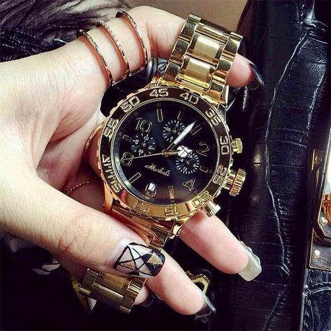High Quality Men Women Watches Luxury Six-pin calendar Wristwatches Crystal Dress Watch Female Rose Gold Watch - Women's Watches