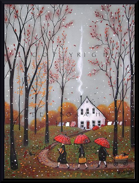 Deborah Gregg Oh what an earthy day! The skies are a pewter grey accented by falling leaves and a few wet snowflakes. The three sisters take their time walking home from town, accompanied by their little doxie entourage. Enjoying every leaf crunching step (dry and cozy under red umbrellas) as they carry pumpkins, spices, sugar, flour, etc., everything they need for pie, bread, and fried pumpkin cakes.Yum! They should have enough to last through the holidays. Life is good♡