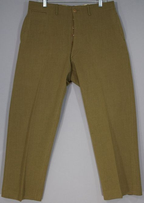 WWII US Officers OD Green Wool Uniform Trousers Military Pants 36x29