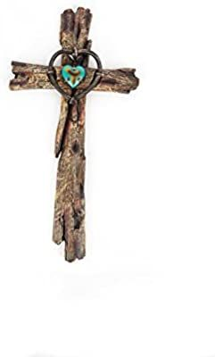 StealStreet SS-G-28281 16-Inch Decorative Wall Hanging Cross Statue Figurine Turquoise