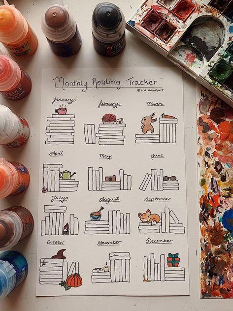MONTHLY READING TRACKER Bullet Journal Bookshelf Reading | Etsy Bullet Journal Knitting, Bullet Journal Topics, Bullet Journal Tracker, Bullet Journal Ideas Pages, Bullet Journal Inspo, Book Journal, Creative Bookmarks, Diy Bookmarks, Bookmark Ideas