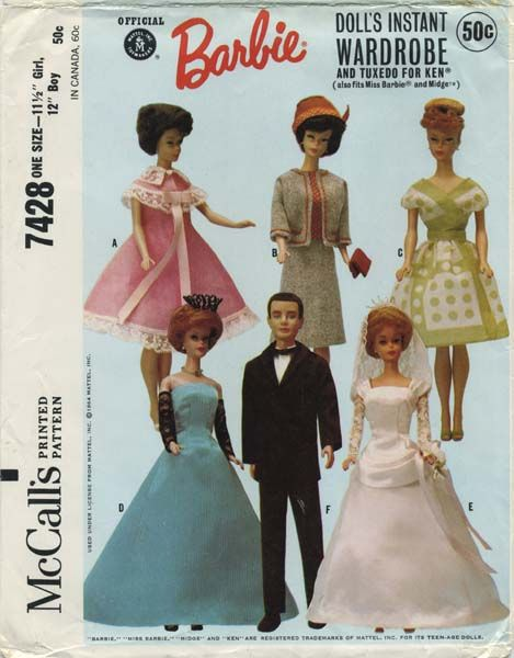"Vintage Barbie™ Doll Clothes Sewing Pattern | Official Mattel Barbie® Doll's Instant Wardrobe includes Tuxedo for Ken® also fits Miss Barbie® and Midge™ | McCall's 7428 | Year 1964 | One Size - 11½"" Girl, 12"" Boy"