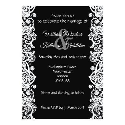 White Lace On Black Background Wedding Invitation White Gifts Elegant Diy Gi Lace Wedding Invitations White Lace Wedding Invitations Black Lace Wedding Decor