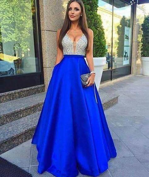 Vestido De Noche Color Azul Y Plata En 2019 Vestidos De
