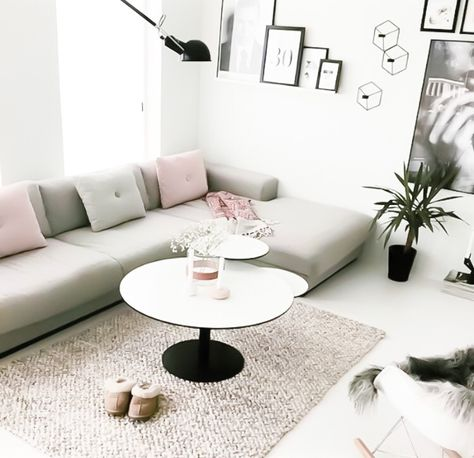 Scandinavian style living room with grey couch and a mixture of the Hay design…