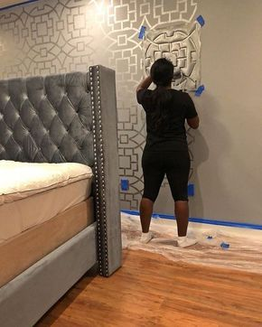 Learn how to stencil an accent wall in a bedroom using the Tea House Trellis Stencil   Cutting Edge Stencils #diy #design #painting #homedecor #bedroom