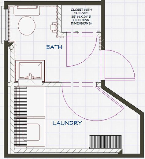 Bathroom And Laundry Plans At The Intersection Of Art Architecture Design Laundry In Bathroom Laundry Room Bathroom Basement Laundry Room