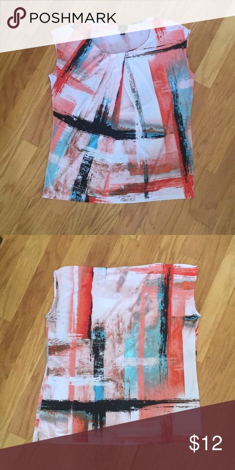 """Worthington tunic Abstract tunic, great condition. Relaxed fit, lightweight. 95% polyester, 5% spandex  26"""" length, 22"""" pit  Colors: black, white, orange, teal, brown Worthington Tops Tunics"""