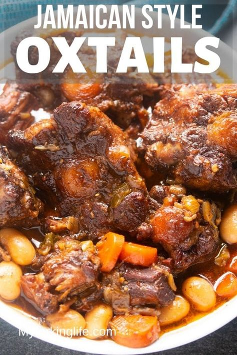 This Jamaican Oxtail recipe is the perfect Caribbean stew for dinner Delicious and tender oxtail and butter beans that is cooked to perfection Make it in the Instant Pot or any electric Pressure Cooker Stove top and slow cooker instructions also included Jamaican Cuisine, Jamaican Dishes, Jamaican Recipes, Rice And Peas Jamaican, Haitian Food Recipes, Oxtail Recipes Crockpot, Crockpot Recipes, Healthy Recipes, One Pot Dinners