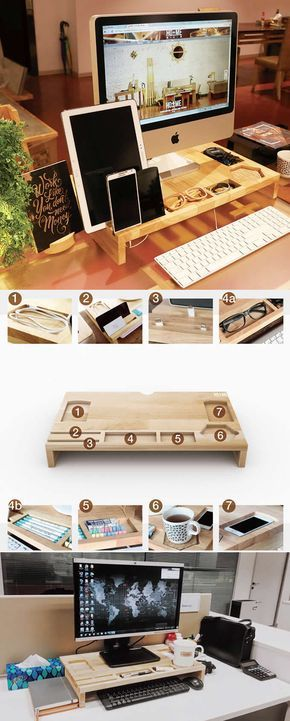 Wood Monitor Imac Stand Stationery Office Desk Organizer Pen