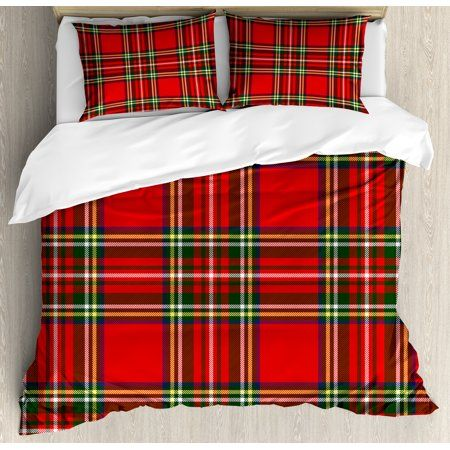 Plaid Duvet Cover Set European Western Culture Inspired Abstract Irish Pattern Vintage Classical Design Decorative Bedding Set With Pillow Shams Multicolor In 2021 Duvet Cover Sets Queen Size Duvet Covers Plaid Bedding
