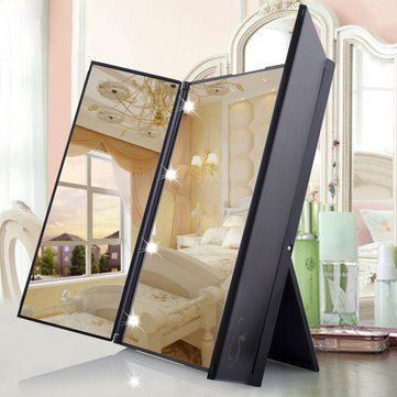 LuckyFine Tri-Fold LED Lighted Mirrors Makeup Vanity Wide View Portable Travel Pocket is on sale - NewChic