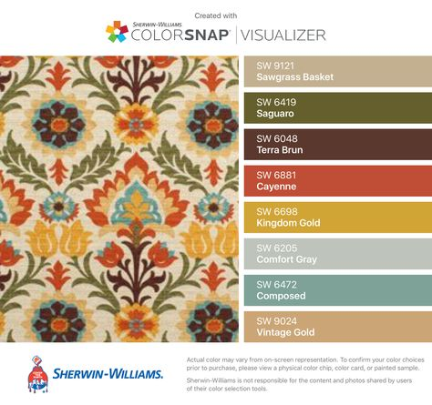 I found these colors with ColorSnap® Visualizer for iPhone by Sherwin-Williams: Sawgrass Basket (SW 9121), Saguaro (SW 6419), Terra Brun (SW 6048), Cayenne (SW 6881), Kingdom Gold (SW 6698), Comfort Gray (SW 6205), Composed (SW 6472), Vintage Gold (SW 9024).