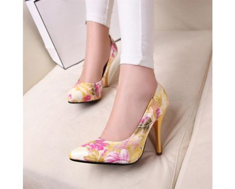de8468e321c Floral Print Faux Suede Pointed High Heels  Shoes  Floral  Heels ...