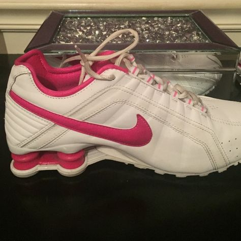lowest price 58c7c 25e3b Pink and white nike Shox Nike Shox worn a couple times but they are in  almost brand new condition! Size- 8 pink and white Nike Shoes Athletic Shoes