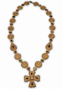 Byzantine Necklace with Cross Pendant  Byzantium, 6th to 7th century C.E.