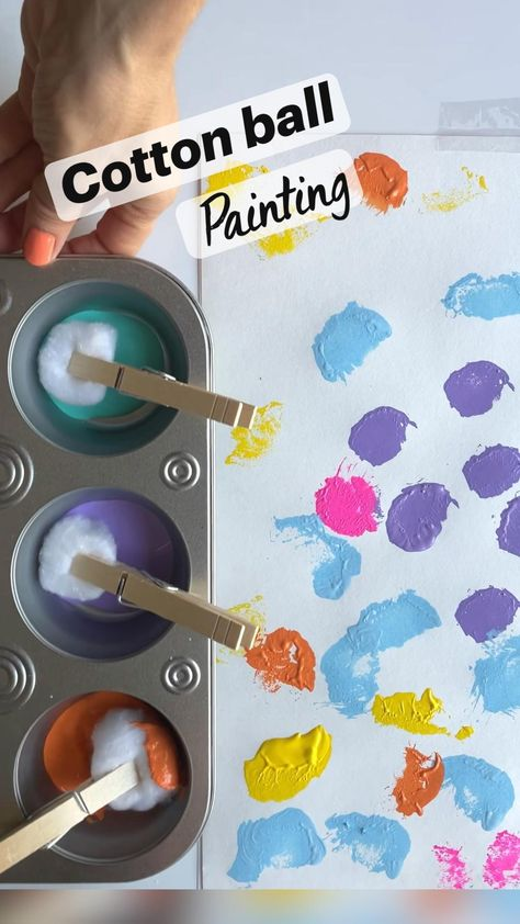 COTTON BALL painting for toddlers!