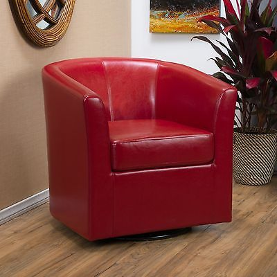 Contemporary Red Leather Swivel Club Chair (With images