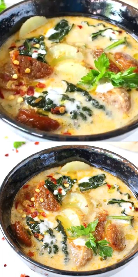 Creamy Zuppa Toscana made with plant Based Italian Sausage, dairy free, gluten free loaded with golden potatoes and lacinato kale #veganrecipes #plantbased #soup #dairyfree #glutenfree #easyrecipe #healthyrecipes