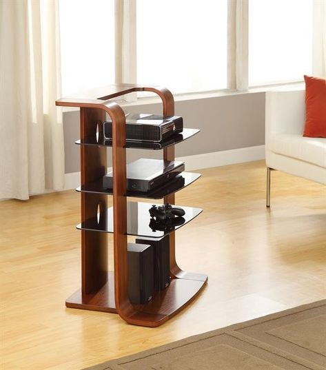 Curved Wood HIFI Stereo Stand In Walnut By Jual Furnishings - Meuble hifi audiophile pour idees de deco de cuisine