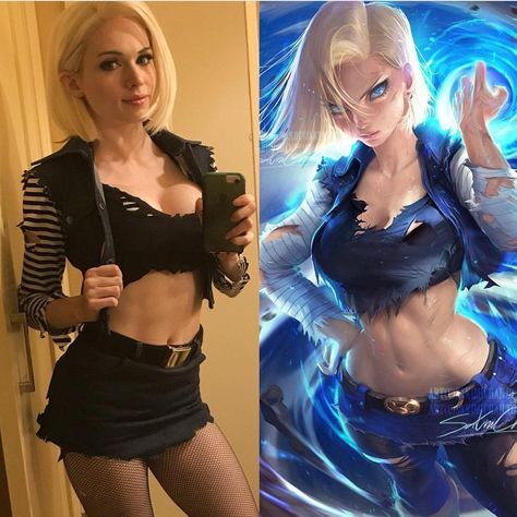 Android 18 from Dragon Ball Z cosplay done by Amouranth