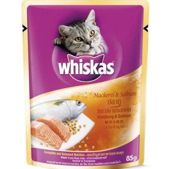 ของด Whiskas Pouch Mackerel Salmon อาหารแมวชน ดเป ยกส ตรปลาท และปลาแซลมอน 85 กร ม 6 ซอง ราคาเพ ยง 85 บาท เท าน น ค ณสมบ ต ม ด งน อร อยจากเน อปลาแท