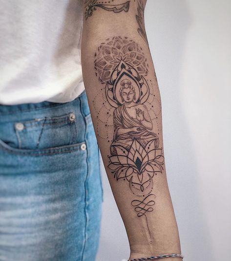 Hindu Tattoos, Boho Tattoos, Girl Arm Tattoos, Sleeve Tattoos For Women, Tattoo Sleeve Designs, Cute Tattoos, Cool Forearm Tattoos, Unique Tattoos, Budist Tattoo