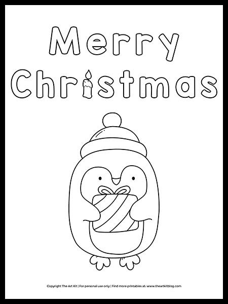 Toddler Merry Christmas 2020 Coloring Pages FREE! Merry Christmas Penguin Coloring Page in 2020 | Penguin