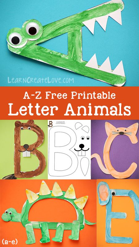 Printable Letter Animals: A-E Preschool Letter Crafts, Alphabet Letter Crafts, Abc Crafts, Preschool Crafts, Crafts For Letter A, Alphabet Tracing, Preschool Learning Activities, Preschool Lessons, Preschool Curriculum