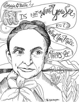 Georgia O Keeffe Quote Coloring Page In 2020 Art Class Posters