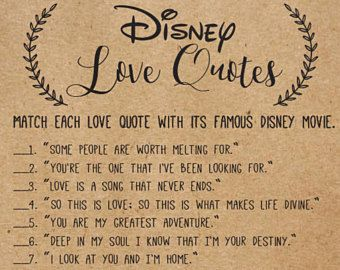 Disney Love Quotes Bridal Shower Game . Disney Bridal Shower Games . Wedding Shower Game . Bachelorette Party Night . Rustic . Download