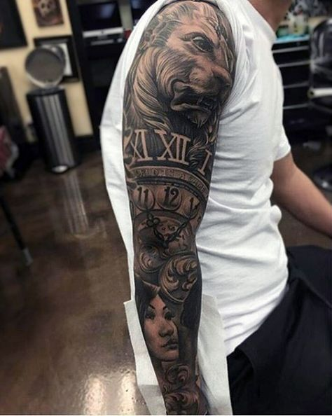 Male Full Sleeves Black And Grey Lion And Clock Tattoo